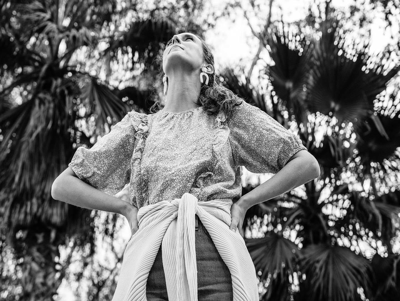 girl standing in monochrome